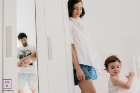 A Madrid family at home for some Spain lifestyle portraits with the parents and kids