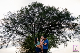 Roraima family portrait near a wide tree during this Brazil lifestyle photo session