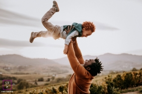 Auvergne-Rhone-Alpes father and son play during this France lifestyle family portrait