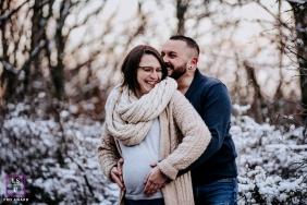 Auvergne-Rhone-Alpes winter maternity portrait with a couple