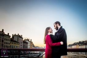 Savoie Auvergne-Rhone-Alpes Lovers embraced on a bridge in Lyon
