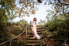 Maternity portrait in the Beaujolais region, with autumn colors