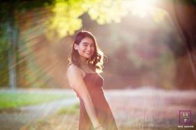 San Francisco majestic sun flare during a California teen portrait session