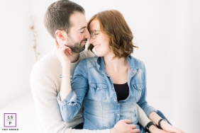 Artistic Vendee Lifestyle portrait of a couple inside with soft window light