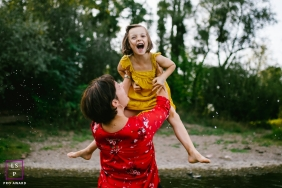 Doubs Creative Lifestyle Portrait image showing a jump into the water with mom