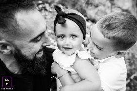 France Creative Family Lifestyle Portrait image of dad with his two children