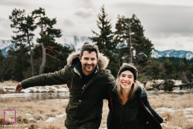 Occitanie Creative Lifestyle Portrait of a couple running in the mountains of the Pyrenees-Orientales