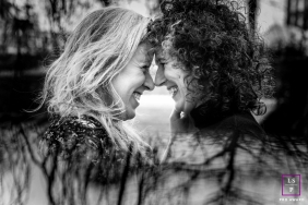 Gelderland couple posing for a Lifestyle portrait leaning into each other forehead to forehead