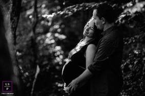 Savoie Mother and Father posing for a Lifestyle Maternity Portrait in black and white