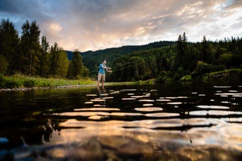 Minas Gerais Brazil Lifestyle Portraits - Photo contains: man, fishing, water, pond, mountains, trees