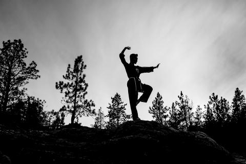 Coeur d'Alene, Idaho | A martial arts senior portrait silhouette | Lifestyle Photography