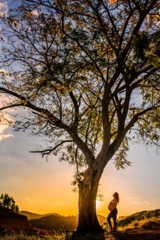 Sunset maternity portrait in Minas Gerias, Brazil