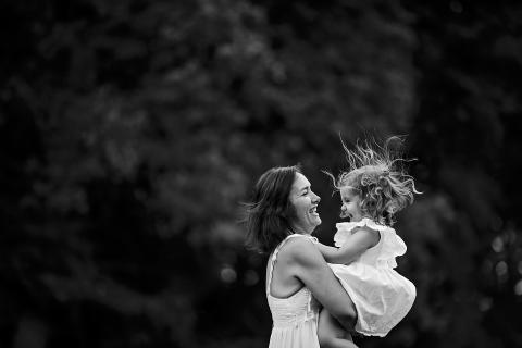 A France lifestyle family portrait session with mommy and a young girl in Bourgogne-Franche-Comte