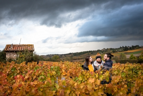 Lifestyle family portrait in the beaujolais Region, with beautiful autumn colors