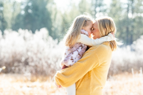 Lake Tahoe Lifestyle Photographer created this artistic portrait with some Mom and daughter special time together