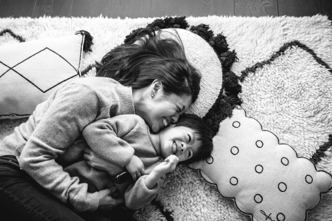 London Creative Lifestyle Mother and son Action portrait family