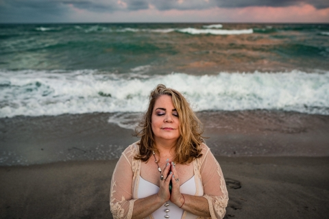 Hollywood Beach Lifestyle Photographer created this Miami artistic portrait at the beach all alone