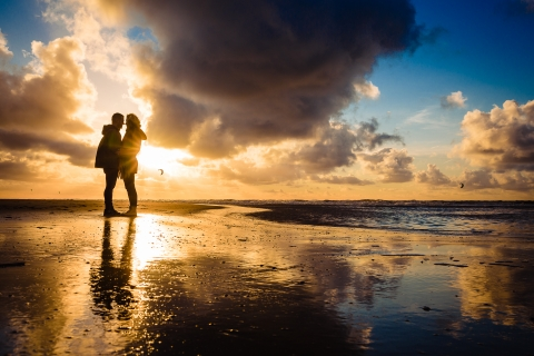Amsterdam Creative Lifestyle Couple Portrait image at a stunning beach scene and sundown in The Netherlands