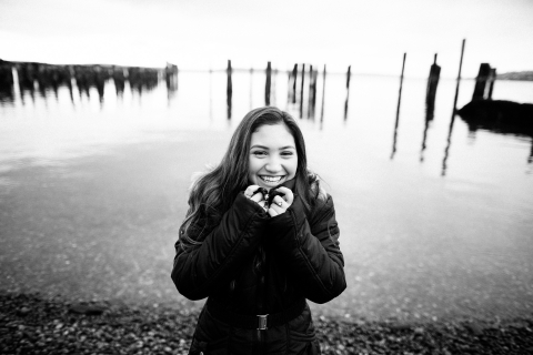 Artistic Washington Lifestyle Photography of girl laughing with water in the background