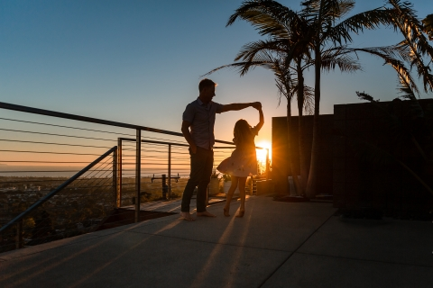 California Family Lifestyle portrait showing a dad's sunset dance with his daughter