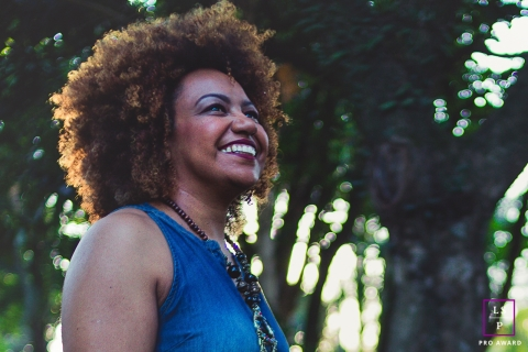 Jundiaí Sao Paulo Lifestyle Woman Portrait Photography | Image contains: smile, trees, hair, outdoors, natural, light