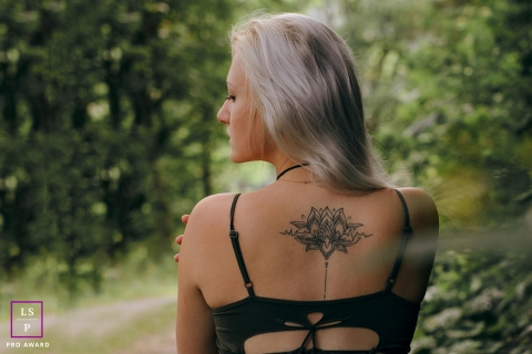 Lifestyle Portraits Session in Ceara Brazil | Photo contains: trees, dirt road, woman, tattoo