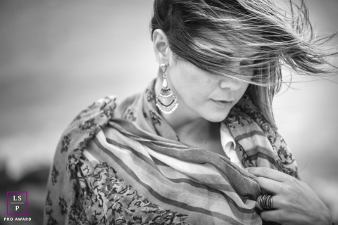 Woman Portrait Session in Rio de Janeiro Brazil | Lifestyle Photography contains: female, wind, black and white, earrings, scarf