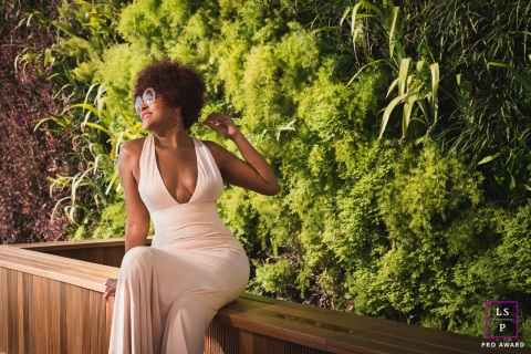 Woman Portrait Session in Rio de Janeiro Brazil | Lifestyle Photography contains: female, pose, greenery, planter, glasses