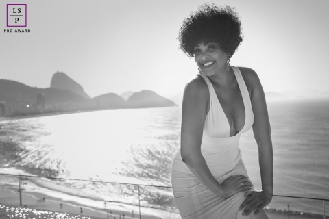 Female Portrait Session in Rio de Janeiro Brazil | Lifestyle Photography contains: woman, beach, water, hills, black and white