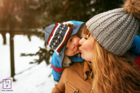 Saint-Petersburg Mom and Son Lifestyle Portrait Session Russia | Photo contains: mother, baby, kiss, winter, water, trees, outdoors, ideas