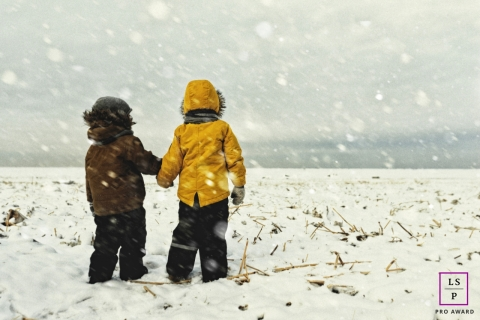 Saint-Petersburg Lifestyle Boys Portrait Session Russia | Photo contains: children, snowing, field, winter