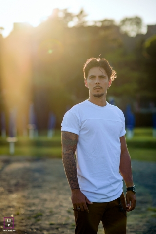 Latina Male Lifestyle Portrait Photography Lazio | Image contains: man, sunlight, park, tattoo, portraiture, ideas