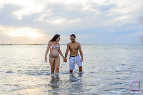 Ceara Brazil Beach Couple Lifestyle Photography | Image contains: husband, wife, water, swimsuit, cloudy, hands