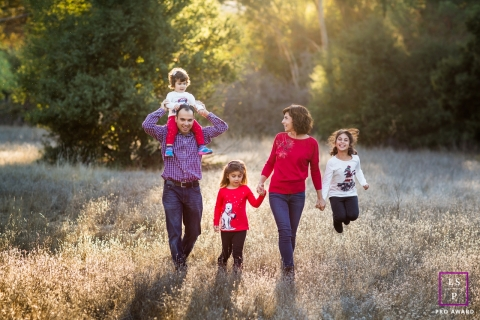 San Francisco Family Lifestyle Session California | Photo contains: husband, wife, girls, field, trees, nature, shoot