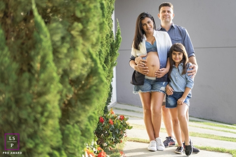 Brazil Maternity Portrait Session with Daughter and Dad | Photo contains: cypress, bump, kid, father, color, outside, ideas, creative