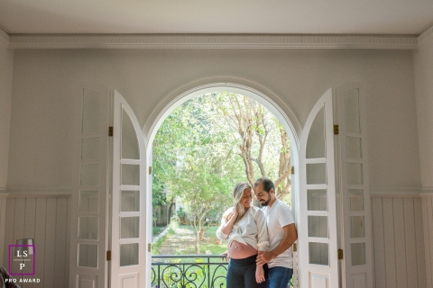 Maternity Lifestyle Portrait with Sao Paulo Couple - Photo contains: doors, porch, father to be, mother to be, color, white, color, bump