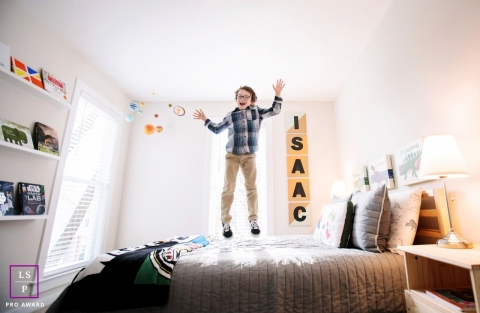 Virginia United States Kid Lifestyle Portraits - Photo contains: boy, bed, jumping, color, room, inside, shot, tips