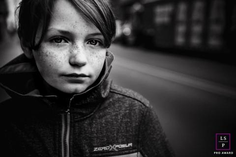 NashvilleTeen Lifestyle Photography | Image contains: boy, outside, street, close-up, black, white, fine art