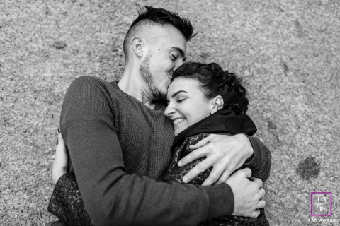 Bourgogne-Franche-Comte Lifestyle Couple Portrait Session in France | Photo contains: black and white, man, woman, hug, smile