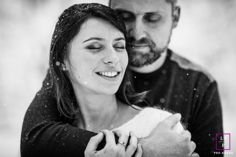 Bourgogne-Franche-Comte Couple Portrait Session France | Photo contains:  man, woman, black and white, hug, snow