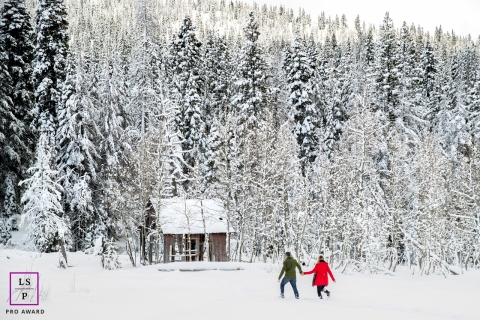 Lake Tahoe California Lifestyle Couple Photography | Image contains: mountain, pines, trees, snow, cabin