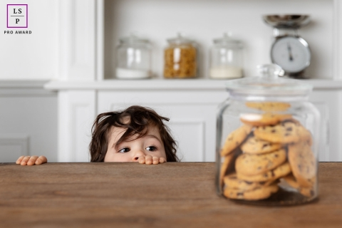 Bouches-du-Rhone Lifestyle Portrait Session in the Kitchen - Photo contains: child, counter, cookie jar