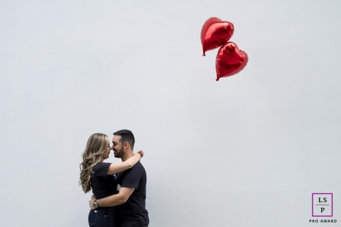 Minas Gerais Lifestyle Couple Portraits | Image contains: man, woman, matching, balloons, heart,