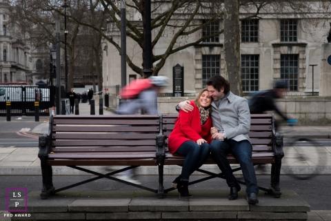 England Pre-Wedding Couple Portraits | Photo contains: couple, pre-wedding, color, bikers, portrait, bench