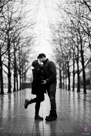 London Lifestyle Couple Portrait Session | Photo contains: England, portrait, black, white, couple, trees, streets, outdoors, pre-wedding