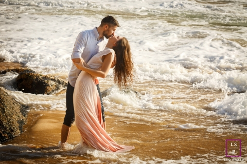 Rio de Janeiro Couple Portrait Photographer - Brazil Lifestyle Photo with a Kiss in the waves