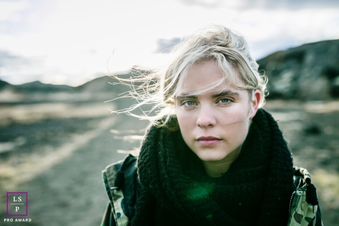 Bourgogne-Franche-Comte France portrait of a teen - Strong girl in the desert of Iceland