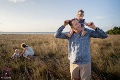 Key West Family Lifestyle Portrait Photography | Riding on dad's shoulders at the beach