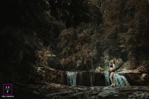Maternity Photography for Santa Catarina - Lifestyle Portrait contains: waterfall, water, spring, brook