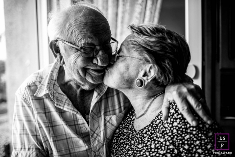 France lifestyle portrait of an elderly couple. Love never gets old !